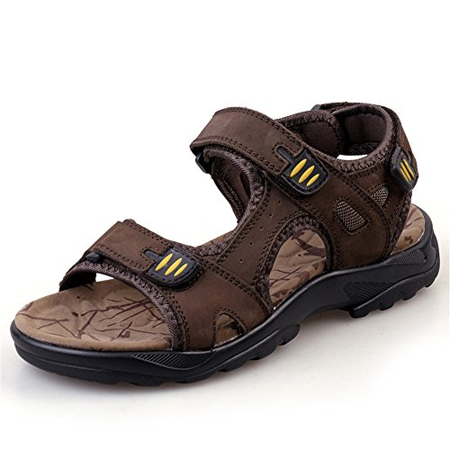 Breathable Shoes Men's Brown Band Casual Elastic Head Beach QXH Sandals Round a4wqPxp8x