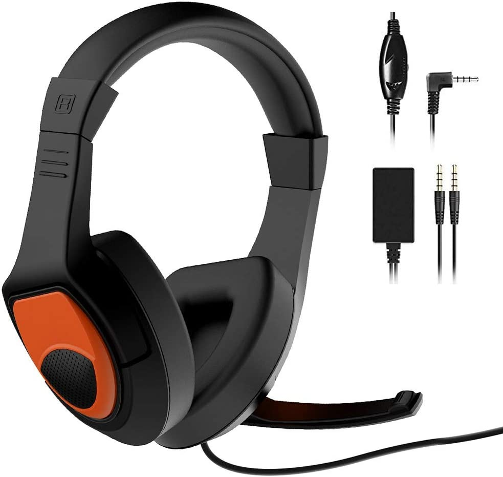 GEEKLIN Gaming Headset for Pc, Ps4 Headset with Surround Sound Stereo, Switch Headset with Audio Chat Adapter, Noise Canceling Headset with Mic