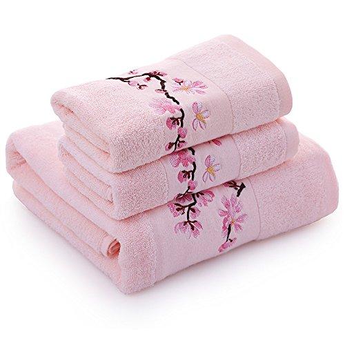 USTIDE Luxury Pink Embroidered Bath Towels Set Pink Plum Flo