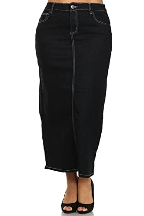 Women's Denim Pocket Embellished Jean Short/Long Skirts PLUS SIZE ...