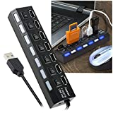 Insten 7-Port High Speed USB 2.0 Hub W/Individual Power Switches and LEDs for Transfer Data Speed up to 480Mbps Supports Windows MacOS and Linux for iPhone 8/8 Plus7/7 Plus/6S Plus, Galaxy S8