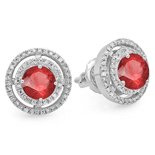 14K White Gold Round Ruby & White Diamond Ladies Halo Style Stud Earrings - 14k White Gold Round Ruby