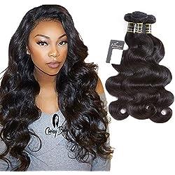 Puddinghair Unprocessed Virgin Brazilian Human Hair Brazilian Body Wave 3 Bundles Hair Extensions Grade 7A Human Hair Bundles Natural Black Color(16 18 20 Inch)