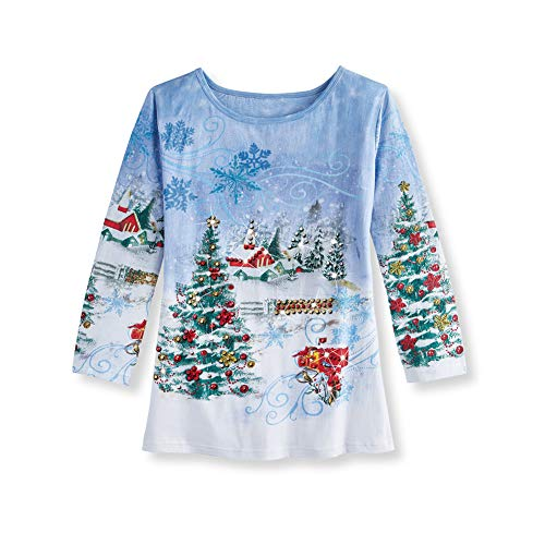 Women's Sparkling Country Winter Scene Christmas Shirt, Poinsettia, Snowy Scene Top, Blue Multi, Large ()