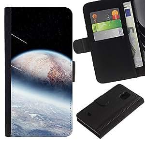 A-type (Espacio de Sci Fi) Colorida Impresión Funda Cuero Monedero Caja Bolsa Cubierta Caja Piel Card Slots Para Samsung Galaxy S5 Mini (Not S5), SM-G800