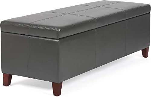 Homebeez Storage Ottoman Bench Leather Footrest Shoe Bench for Entryway Living Room Gray