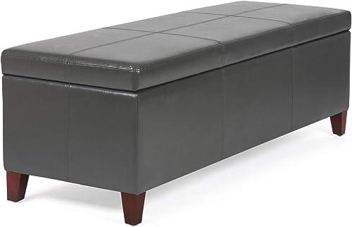 Homebeez Storage Ottoman Bench Leather Footrest Shoe Bench