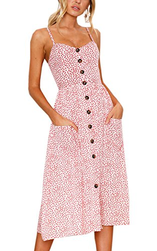 Angashion Women's Dresses-Summer Floral Bohemian Spaghetti Strap Button Down Swing Midi Dress with Pockets Pink L