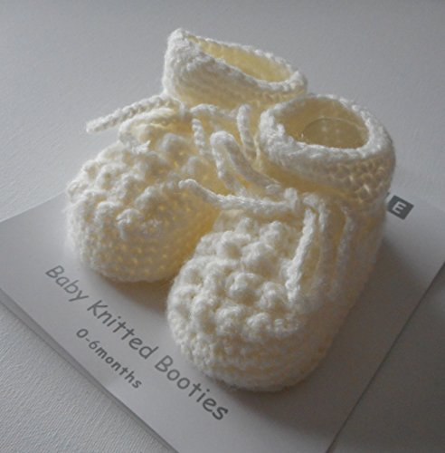 Par de zapatillas/patucos Tricote para bebe de nacimiento blanco o Creme blanco crema Talla:nouveau-ne crema