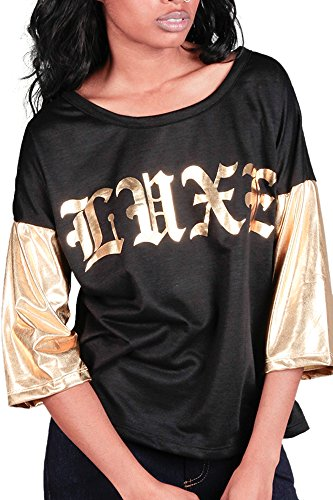 Juniors Teens Fashion Funny Cute Black Gold Red Graphic T...