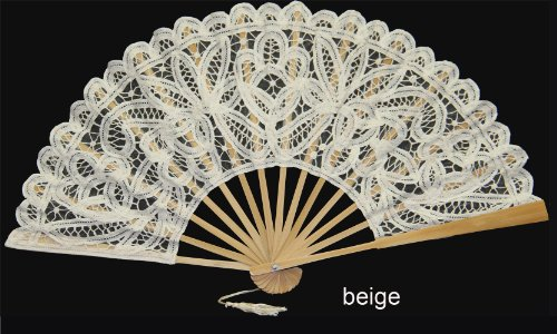 Battenburg Lace Wedding Bridal FAN BEIGE by Creative Linens (Halloween Costumes International Shipping)