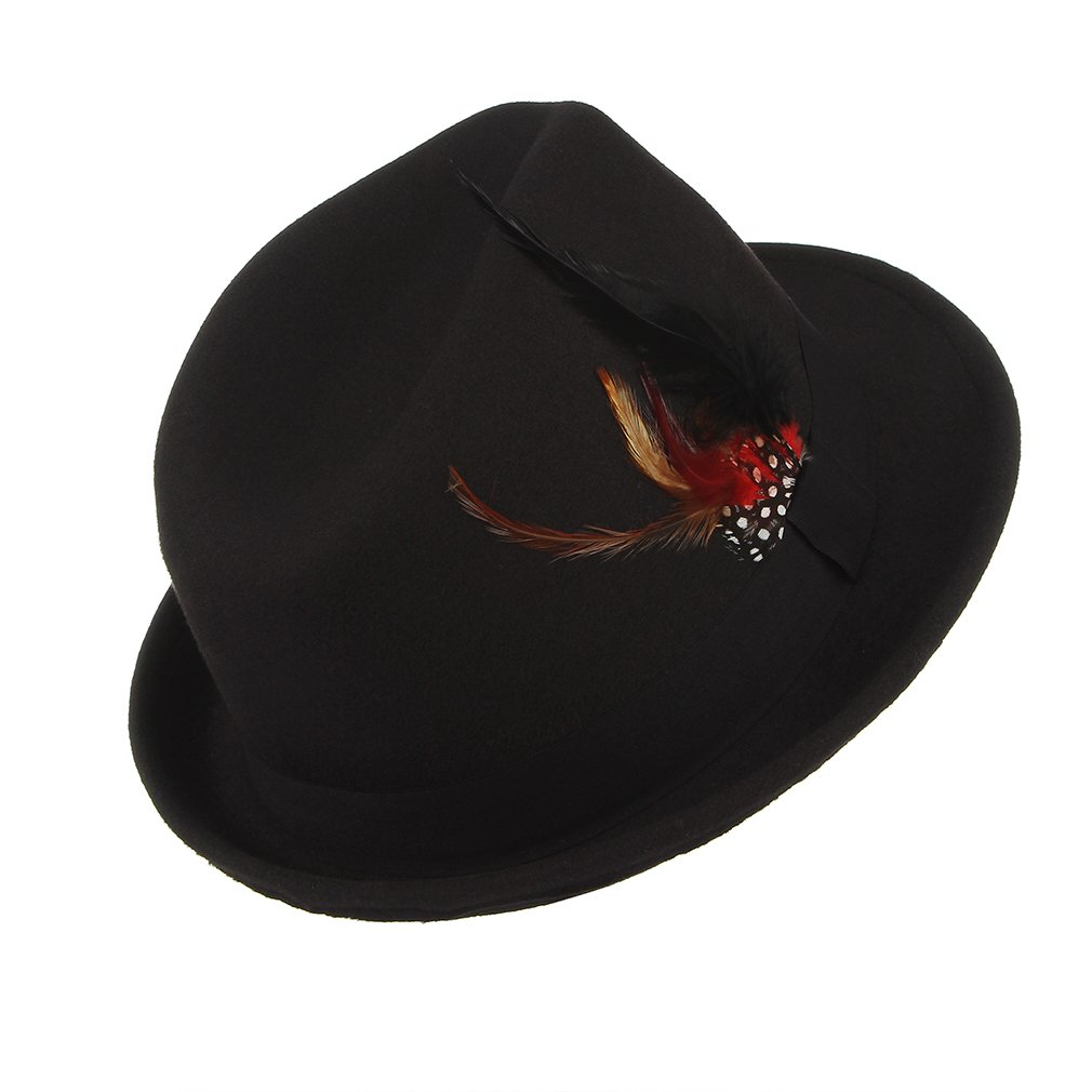 La Vogue-Cappello Jazz Uomo in Feltro con Cintura Piuma Berretto Fedora Trilby Autunno