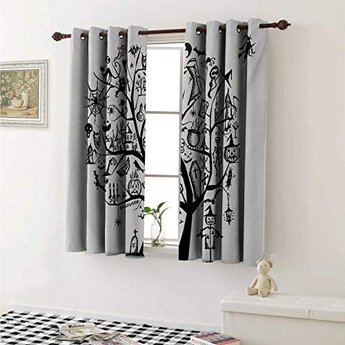 Flyerer Halloween Window Curtain Fabric Sketchy Spooky Tree with Spooky Design Objects and Wicked Witch Broom Abstract Curtains and Drapes for Living Room W55 x L63 Inch Black White -