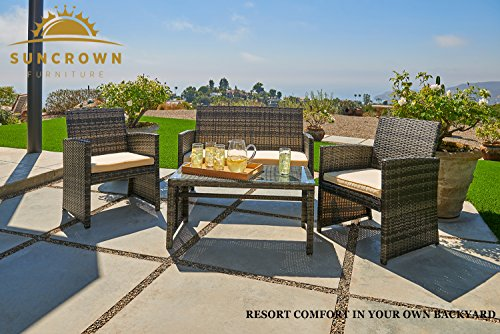 Suncrown Outdoor Furniture Grey Wicker Conversation Set with Glass Top Table (4-Piece Set) All-Weather | Thick, Durable Cushions with Washable Covers | Porch, Backyard, Pool or Garden by Suncrown (Image #1)
