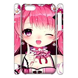 3D iPhone 5C Case,Anime Cute Girl Hard Shell Back Case for White iPhone 5C