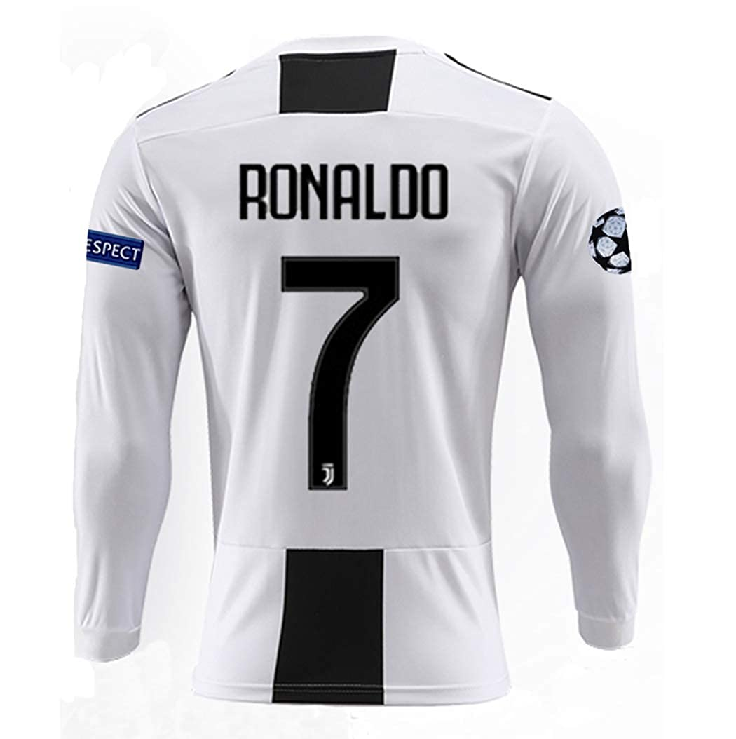 cbff668e3b9 Amazon.com  Jinpuw Juventus 18 19 Season Ronaldo  7 Mens Home Long Sleeve  Soccer Jersey   Armbands (S-XL)  Clothing