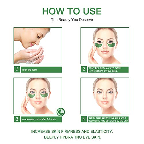 51C9%2BukPUbL - Under Eye Patches Teamyo Collagen Eye Masks,Reduce Dark Circles & Puffiness Eliminate Eye Bags, Natural Eye Treatment Masks with Anti Wrinkles & Anti Aging, Moisturizer Deeply, 30 Pairs-Green