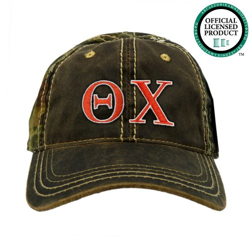 Theta Chi (OX) Embroidered Camo Baseball Hat, Various Colors