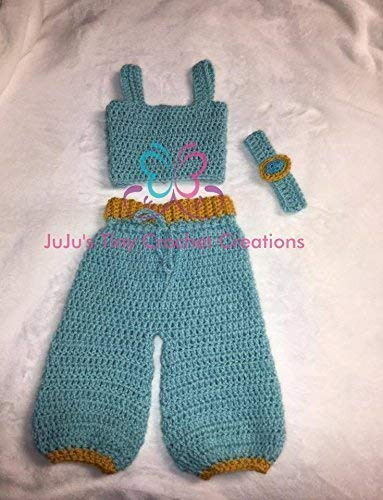 Crocheted Handmade Baby Newborn Disney Princess Jasmine-Inspired Outfit - Photo Prop - Halloween Costume - Baby Shower Gift - Tank Top - Pants - Headband - Christmas Gift - Holiday Gift - Disney -
