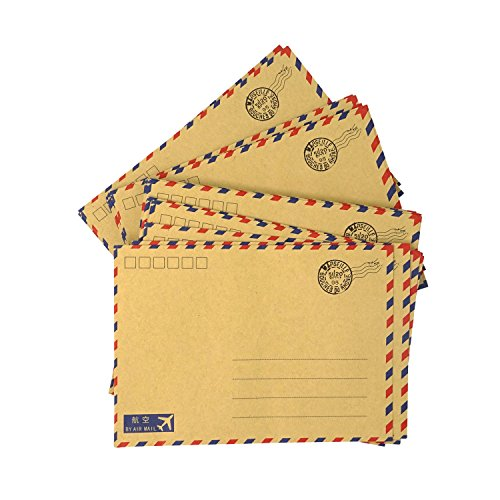 Honbay 50PCS Vintage Kraft Paper Envelopes Invitation Letter Envelopes Airmail Stationery for letters,invitation letter, postcards,etc (Airmail Postcard)