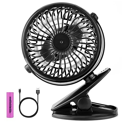 Airsspu Battery Operated Powerful Clip on Mini Stroller Fan, Portable Small Desk Fans with Rechargeable Battery or USB for the Office,Camping,Gym,Baby,Stroller