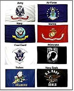Lot 3x5 ft 5 Branches Military Set Navy Seals & Seabees PowMIA Flags Flag Set by RFCO