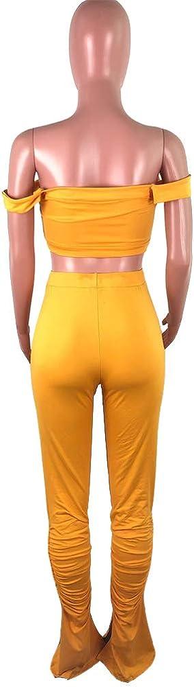 AKK Womens Solid 2 Piece Sportswear Off Shoulder Tank Top Ruched Flared Long Pants Set
