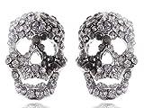 Alilang Silvery Tone Grey Clear Rhinestones Cutout Scary Skull Head Stud Earrings