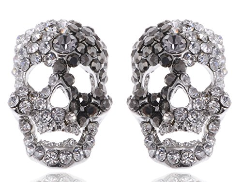 Alilang Silvery Tone Grey Clear Rhinestones Cutout Scary Skull Head Stud Earrings