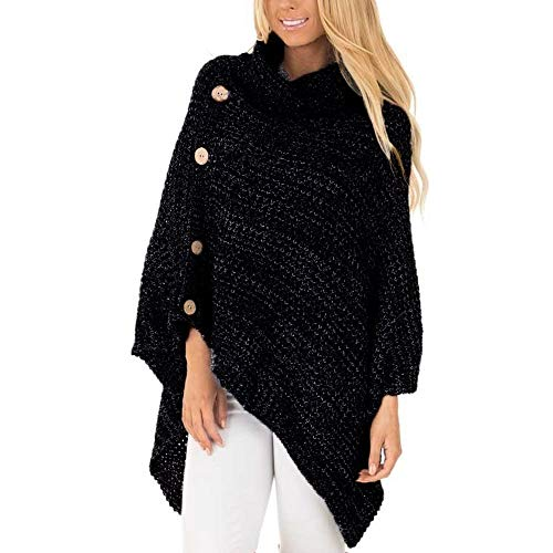 AgrinTol Women Knitted Pullover,Clearance Turtle Neck Poncho with Button Irregular Hem Sweaters