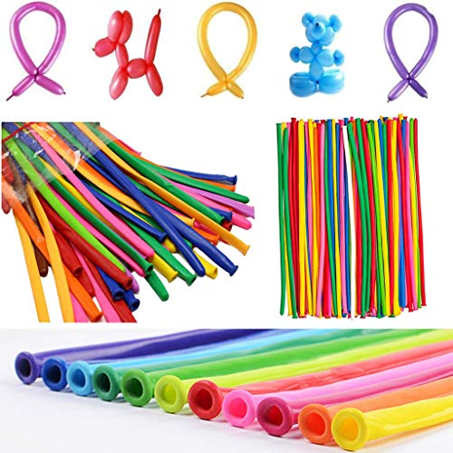 Latex Twisting Balloons by ALZERO, 200 PCS Assorted Color Long Balloons for Animal Shape Party, Birthdays, Clowns, Weddings Decorations (Balloon Twisting Videos)