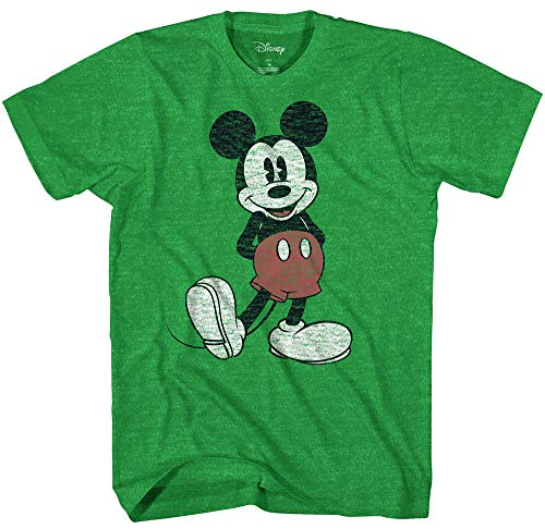 Disney Men's Full Size Mickey Mouse Distressed Look T-Shirt (Small, Kelly Green Heather)