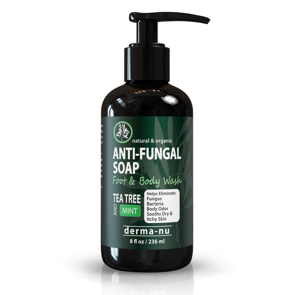 Antifungal Antibacterial Soap & Body Wash - Natural Fungal Treatment with Tea Tree Oil for Jock Itch, Athletes Foot, Body Odor, Nail Fungus, Ringworm, Eczema & Back Acne - For Men and Women - 8oz by Derma-nu Miracle Skin Remedies