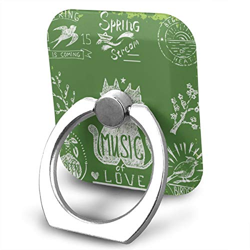 Phone Ring Finger Holder, Square Musical Love Cat Printed Universal Smartphone Holder Stand, Cell Phone Ring Finger Holder Grip Almost All Phones/Pad