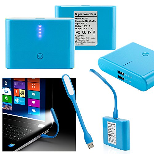 GEARONIC TM 12000mAh Universal Power Bank Backup External Battery Pack Portable USB Charger +Flexible USB Portable LED Light Mini Lamp- Blue