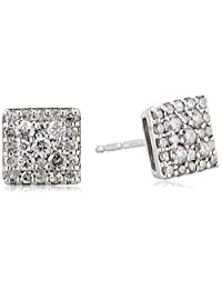 10k White Gold Square Diamond Stud Earrings with side diamonds (1/2 cttw)