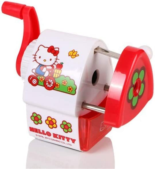 Hello kitty Pencil Sharpener Manual School Stationery Cartoon Safe Office Supply (Red)