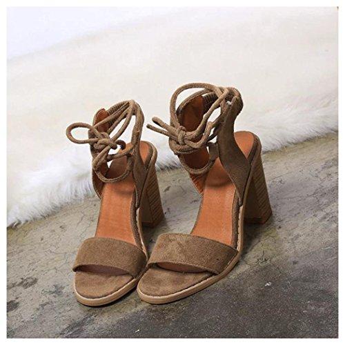 Summer Sandals, Inkach Fashion Straps Sandals Women Summer Pumps High Heels Shoes Brown