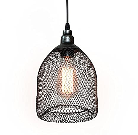 Westmenlights Vintage Industrial Metal Mesh Wire Cage Pendant Light ...