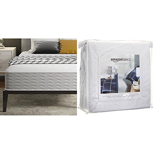 Signature Sleep Contour 10 Inch Reversible Independently Encased Coil Mattress with CertiPUR-US certified foam, Full with AmazonBasics Hypoallergenic Vinyl-Free Waterproof Mattress Protector, Full