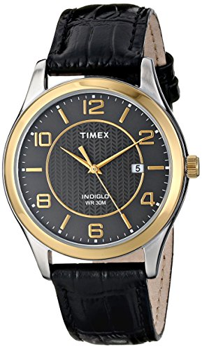 Black Patterned Dial Watch - Timex Men's T2P4509J Main Street Dress Watch with Black Leather Band
