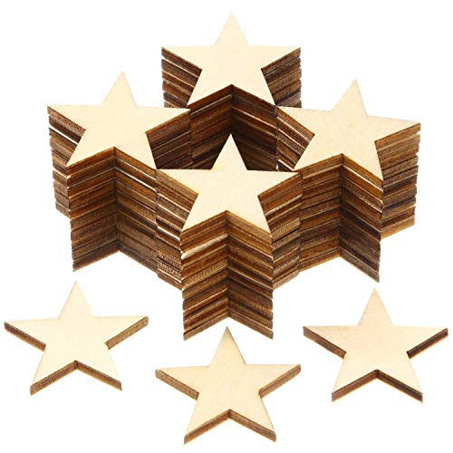 Star Shape Unfinished Wood Pieces, Blank Wood Pieces Wooden Cutouts Ornaments for Craft Project and Decoration (1 Inch, 300 Pieces)