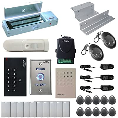 Vsionis FPC-5345 One Door Access Control Inswinging Door 1200lbs Maglock with VIS-3002 Indoor use only Keypad/Reader Standalone no software em card compatible 500 users Wireless Receiver with PIR Kit