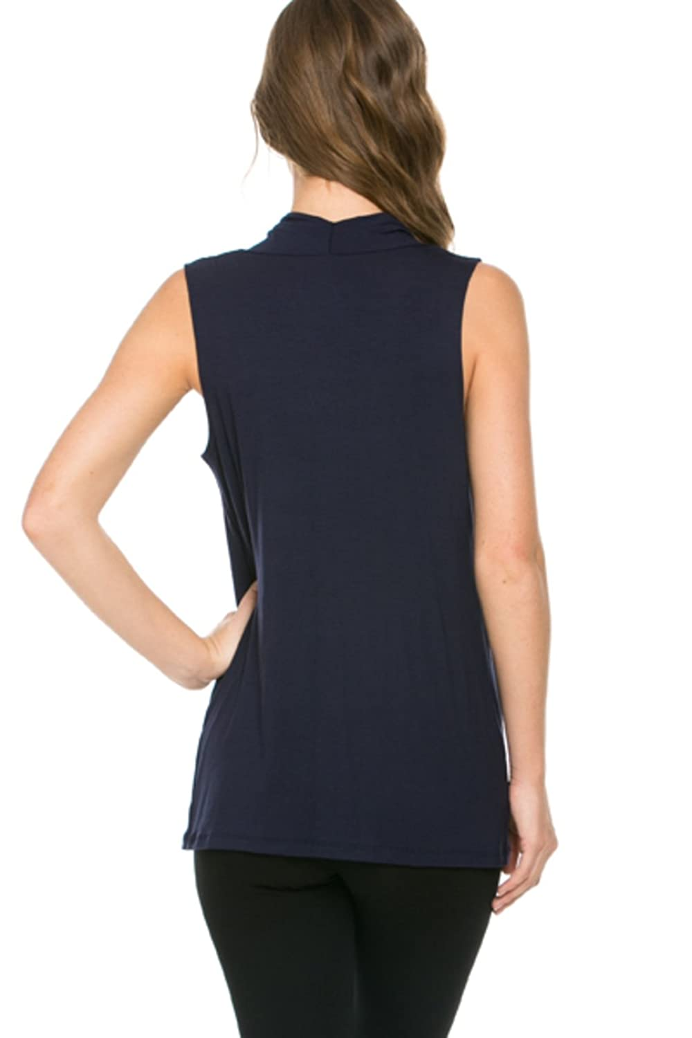 2LUV Women's Sleeveless Cowl Neck Tunic Top