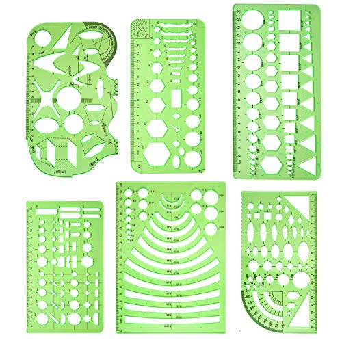 Measuring Templates - Geometry Stencils Template - Geometric Shape Drawing Rulers Tool Kit for Office and School, Building Formwork, Drafting Templates (6 PCS)