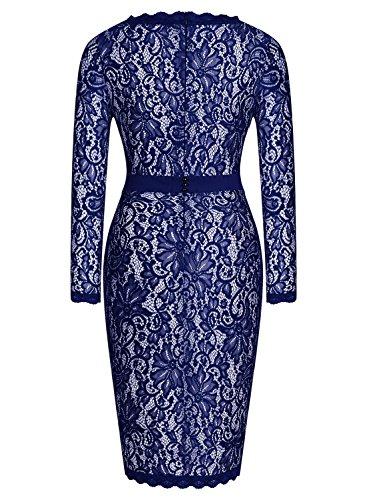 Miusol Women's Long Sleeves Floral Lace Classic Slim Bridesmaid Dress