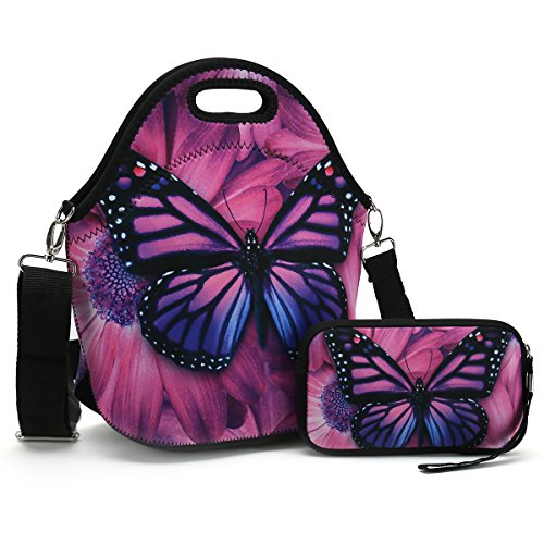 Butterfly Lunch Bag (Insulated Neoprene Lunch Bag-Removable Shoulder Strap-X Large Size Reusable Thermal Thick Lunch Tote/Lunch Box/Cooler Bag With Wallet Pouch For Women,Teens,Girls,Kids,Baby,Adults (Purple Butterfly))