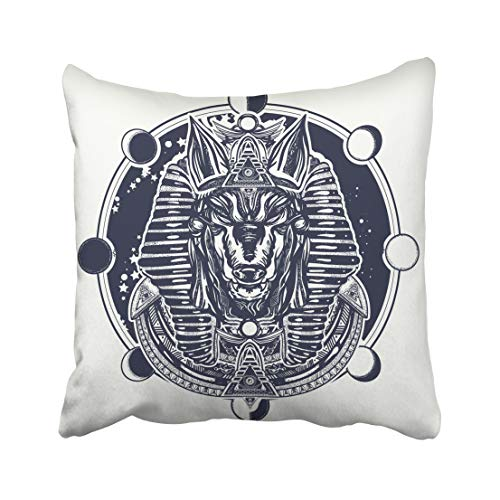 Emvency Decorative Throw Pillow Case Cushion Cover Anubis and Moon Phase Tattoo and Ancient Egypt God of War Golden Mask The Pharaoh 20x20 Inch Cases Square Pillowcases Covers Two Sides Print ()
