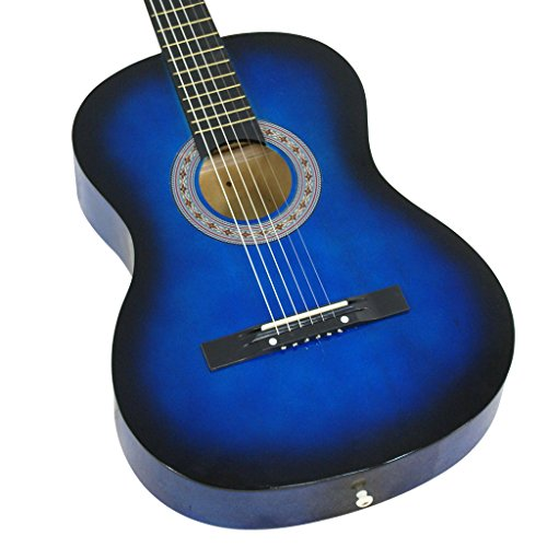 38'' BLUE Acoustic Starter Guitar (7/8 Size) & DirectlyCheap(TM) Translucent Blue Medium Guitar Pick by Directly Cheap