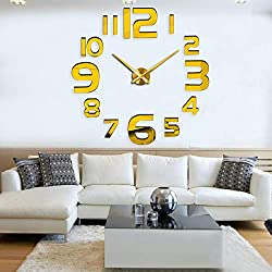 FASHION in THE CITY 3D DIY Mirror Surface Wall Clock Large Size Wall Decorative Clocks Silent Non Ticking Movement Clock(Gold)